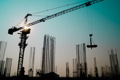 Tower crane in construction Building construction Stock Photo