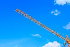 Tower crane in construction building site on sky background.  royalty free stock photo
