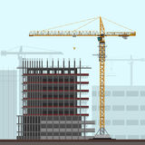 Tower crane on construction site Stock Images
