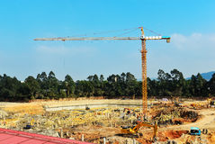 Tower crane in construction site,In the construction of large buildings Royalty Free Stock Photography