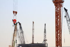 Tower crane at construction site Royalty Free Stock Image