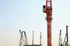Tower crane at construction site Royalty Free Stock Photos