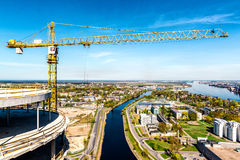 Tower crane in construction site Stock Photography