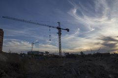 Tower crane at the construction site Royalty Free Stock Images