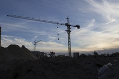 Tower crane at the construction site Stock Photography