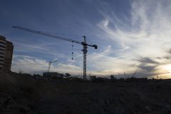 Tower crane at the construction site Royalty Free Stock Image