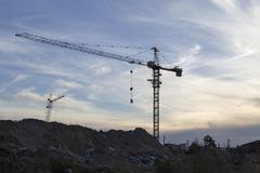 Tower crane at the construction site Stock Image
