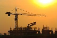 tower crane construction on sunrise. Stock Images