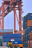 Tower crane in container dock, Xiamen, China Royalty Free Stock Photography