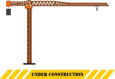 Tower crane. Heavy construction machines. Vector illustration Royalty Free Stock Photo