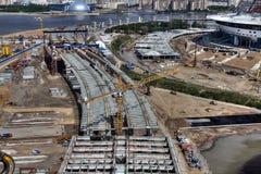 Tower crane liebherr work on construction steel bridge Royalty Free Stock Photo