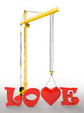 Tower crane love Royalty Free Stock Images