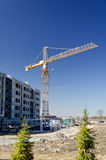 Tower crane near building Royalty Free Stock Photo