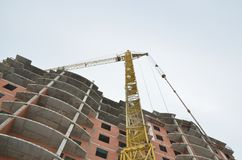 Tower crane in operation. Natural colors and real photos stock photo