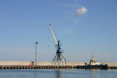 Tower crane in port Royalty Free Stock Image