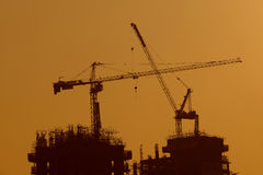 Tower Crane Silhouette Royalty Free Stock Image