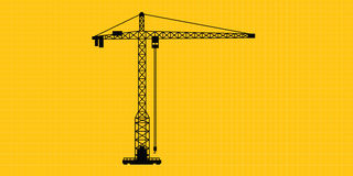 Tower crane site construction isolated silhouette Royalty Free Stock Photography