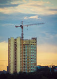 Tower crane and sunset Royalty Free Stock Photo