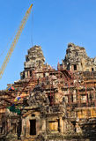 Tower crane in the temple of Angkor Wat Stock Photos
