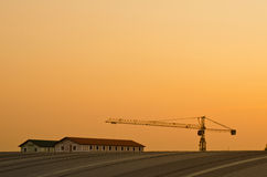 Tower crane and tower on roof Stock Photo