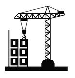 Tower crane vector. Vector black Tower crane icon on white background Royalty Free Stock Image