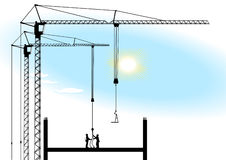 Tower crane and works Royalty Free Stock Photo