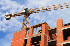 The tower crane works at building Royalty Free Stock Photo