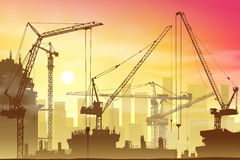 Tower Cranes. Lots of Tower Cranes on Construction Site Royalty Free Stock Photos