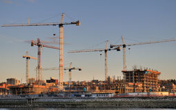 Tower Cranes. Constructing the 2010 Winter Olympic Village Stock Photos