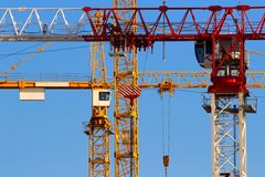 Tower cranes closeup Stock Photography