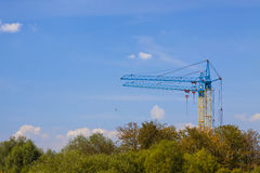 Tower cranes on a construction site near building and green tree Royalty Free Stock Photos