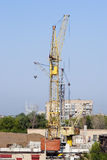 Tower cranes on the construction site Stock Image