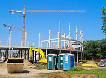 Tower cranes at the construction site royalty free stock photo