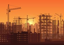 Tower cranes on construction site in sunset. Buildings under construction in sunrise. City skyline silhouette vector. Illustration Royalty Free Stock Photo