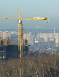 Tower cranes constructs new city buildings Royalty Free Stock Photography