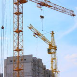 Tower Cranes Image with Blue Sky - Stock Pictures Royalty Free Stock Photography