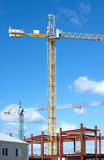 Tower cranes on industrial building construction Royalty Free Stock Images