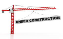 Tower cranes lifting under construction word Royalty Free Stock Image