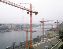 Tower cranes over a Budapest. View of the Budapest with tower cranes Royalty Free Stock Photos