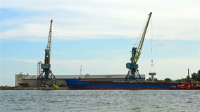 Tower Cranes In The Port. Of Unloading Timber stock video footage