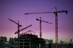 Tower cranes silhouette Royalty Free Stock Image