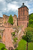 Tower and Crumbling Ruins of Heidelberg Castle Stock Photo