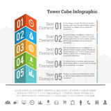 Tower Cube Infographic Stock Photos