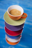 Tower of cups of coffee Royalty Free Stock Photos