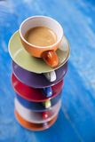 Tower of cups of coffee Stock Images