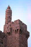 Tower of David at Dusk. The Tower of David is an ancient citadel located near the Jaffa Gate entrance to the Old City of Jerusalem. Built to strengthen a Stock Photos