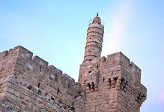 Tower of David at Dusk. The Tower of David is an ancient citadel located near the Jaffa Gate entrance to the Old City of Jerusalem. Built to strengthen a Royalty Free Stock Images