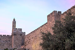 Tower of David at Dusk. The Tower of David is an ancient citadel located near the Jaffa Gate entrance to the Old City of Jerusalem. Built to strengthen a Royalty Free Stock Photo