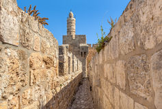 Tower of David and ancient walls in Jerusalem. Royalty Free Stock Image