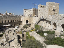 Tower of David and Archaeological Park Royalty Free Stock Photography